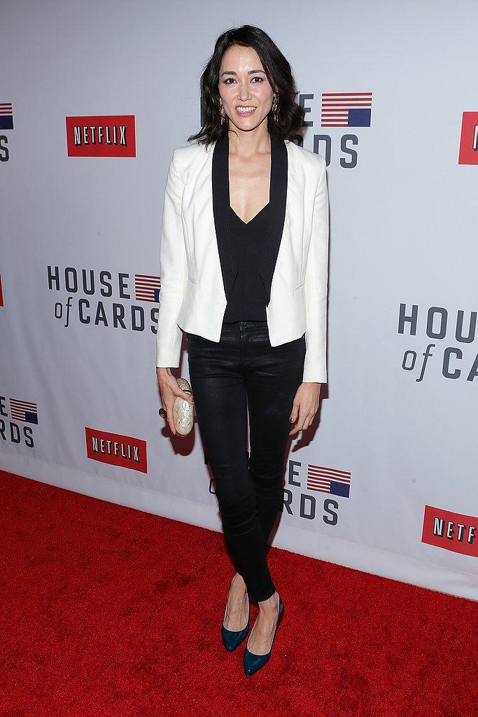 Sandrine Holt wore a white blazer.