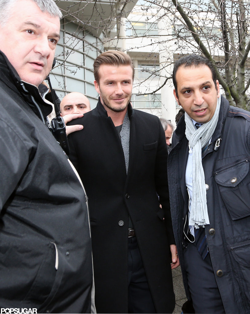David Beckham smiled as he left a hospital in Paris.