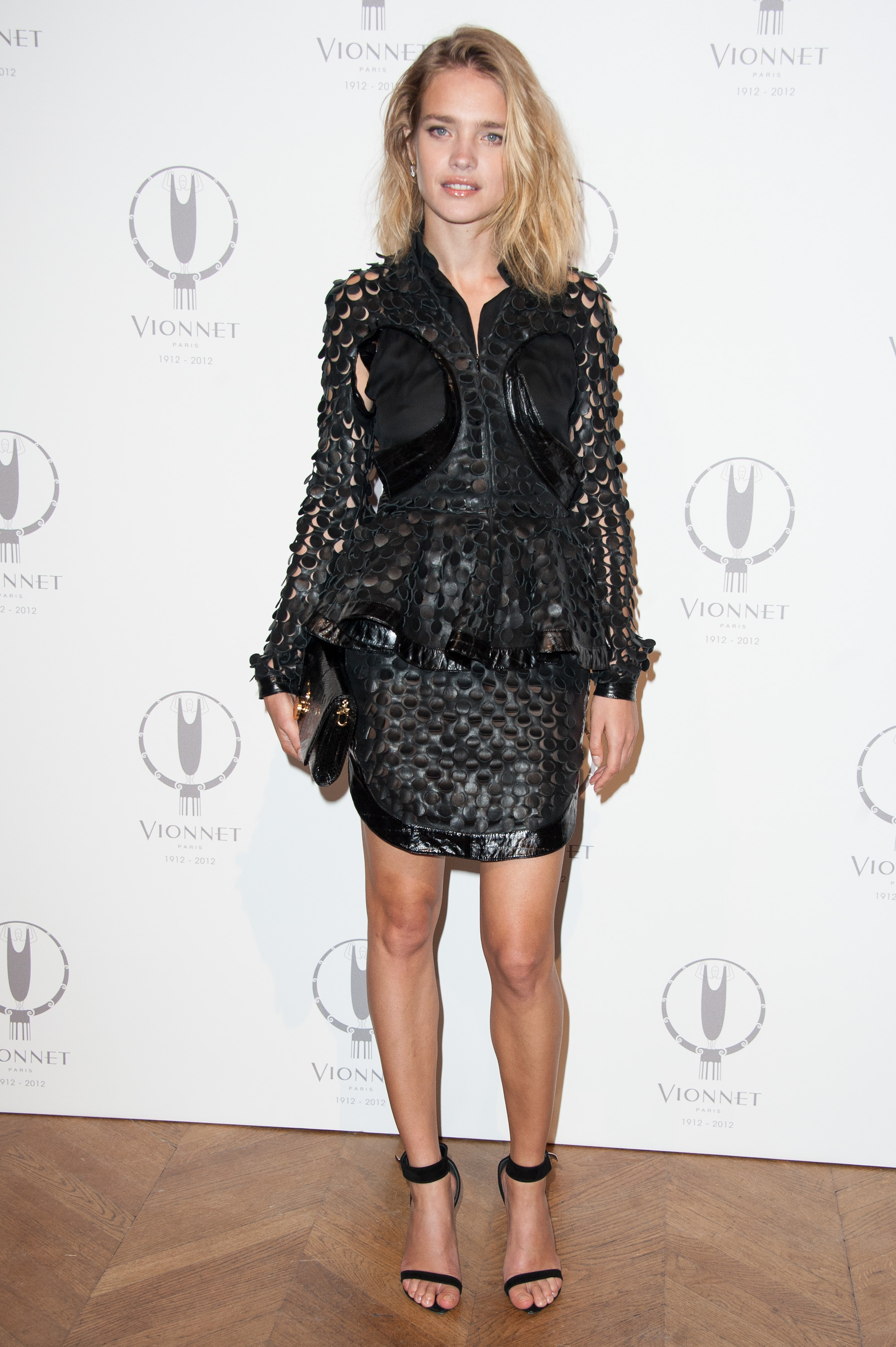 Natalia Vodianova gave her LBD an ultratextured feel, only adding a pair of Givenchy's must-have ankle-strap sandals for the fini