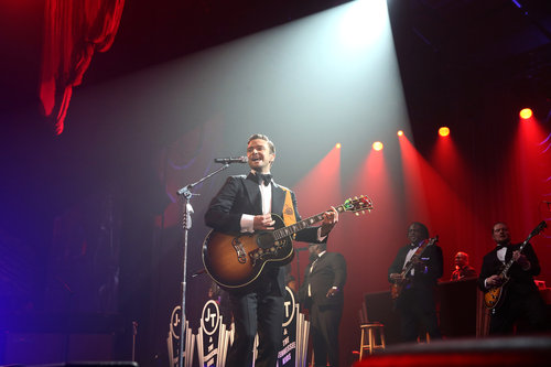 Justin Timberlake strummed a guitar during his Saturday night Super Bowl 2013 performance in New Orleans.
