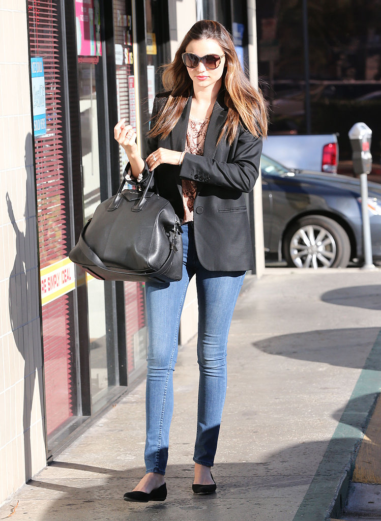 Miranda Kerr gave us another polished bit of street style to swoon over, complete with a Givenchy tote.