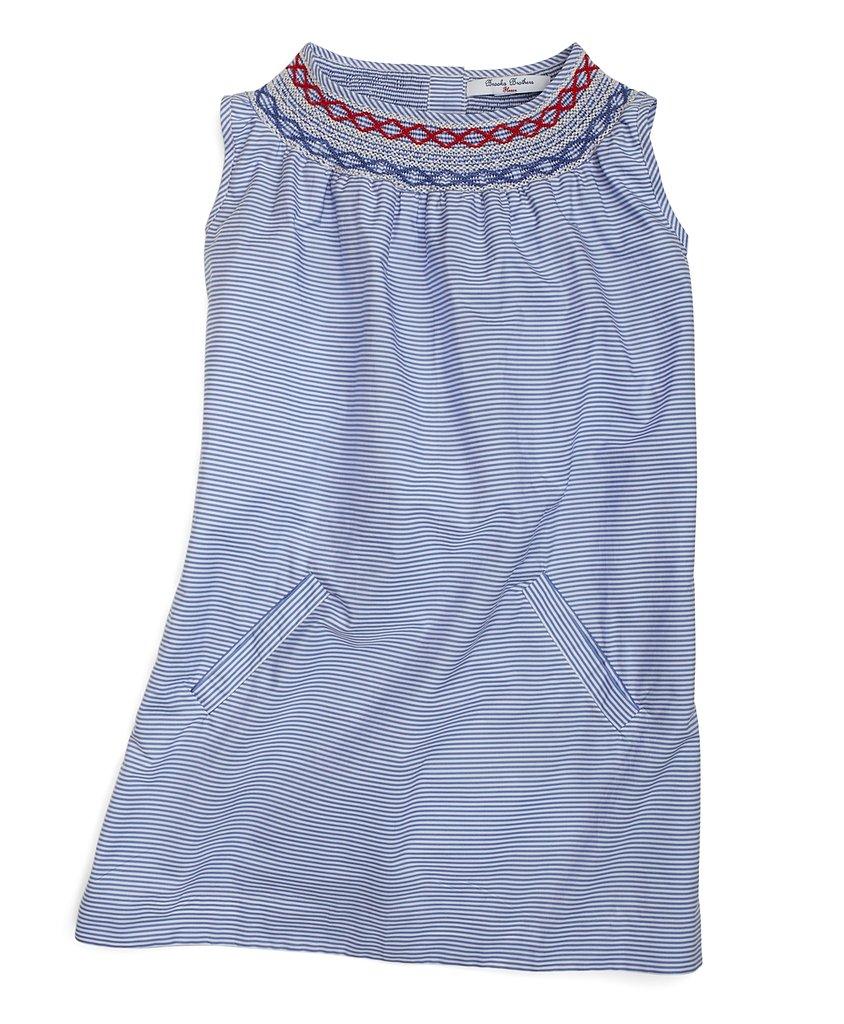 Brooks Brothers Smocked Stretch Babydoll Dress