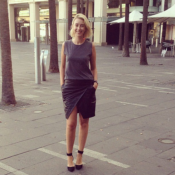 """Alison wears Elin Kling for Marciano skirt and Zara heels. """"I've got two launches today so I wanted to be comfortable. My Elin Kling leather skirt is my life – sexy but still kind sophisticated – and my Zara kitten heels make running through the city almost enjoyable. I'm going to throw on a pink lip for Friday's sake."""""""