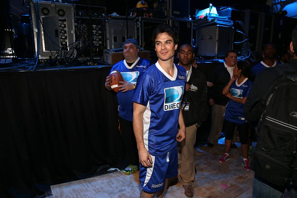 Ian Somerhalder warmed up with his team before the 7th Annual Celebrity Beach Bowl event on Saturday.
