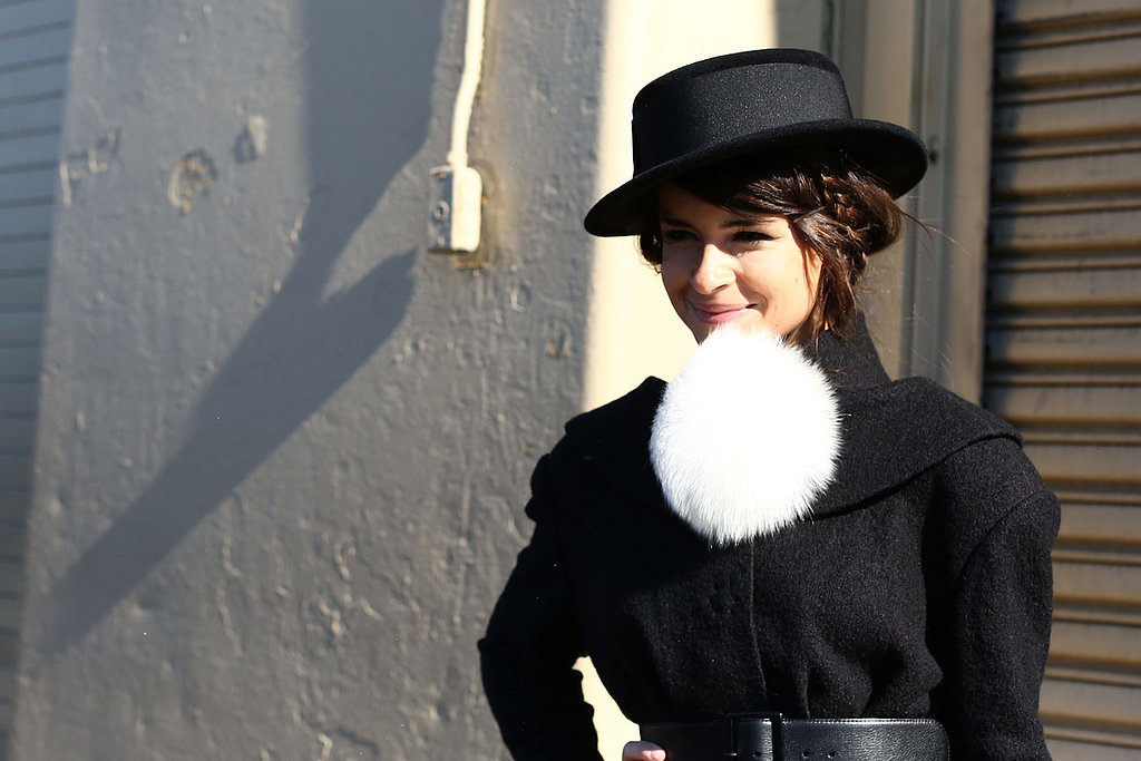 Exposed bobby pins are another hot trend cropping up lately, and Miroslava Duma paired hers perfectly with a mussy updo and a sweet chapeau.