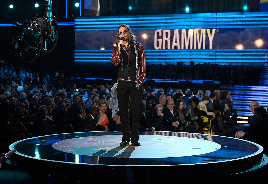 Johnny Depp took the stage to introduce performers Mumford & Sons at the 2013 Grammy Awards.