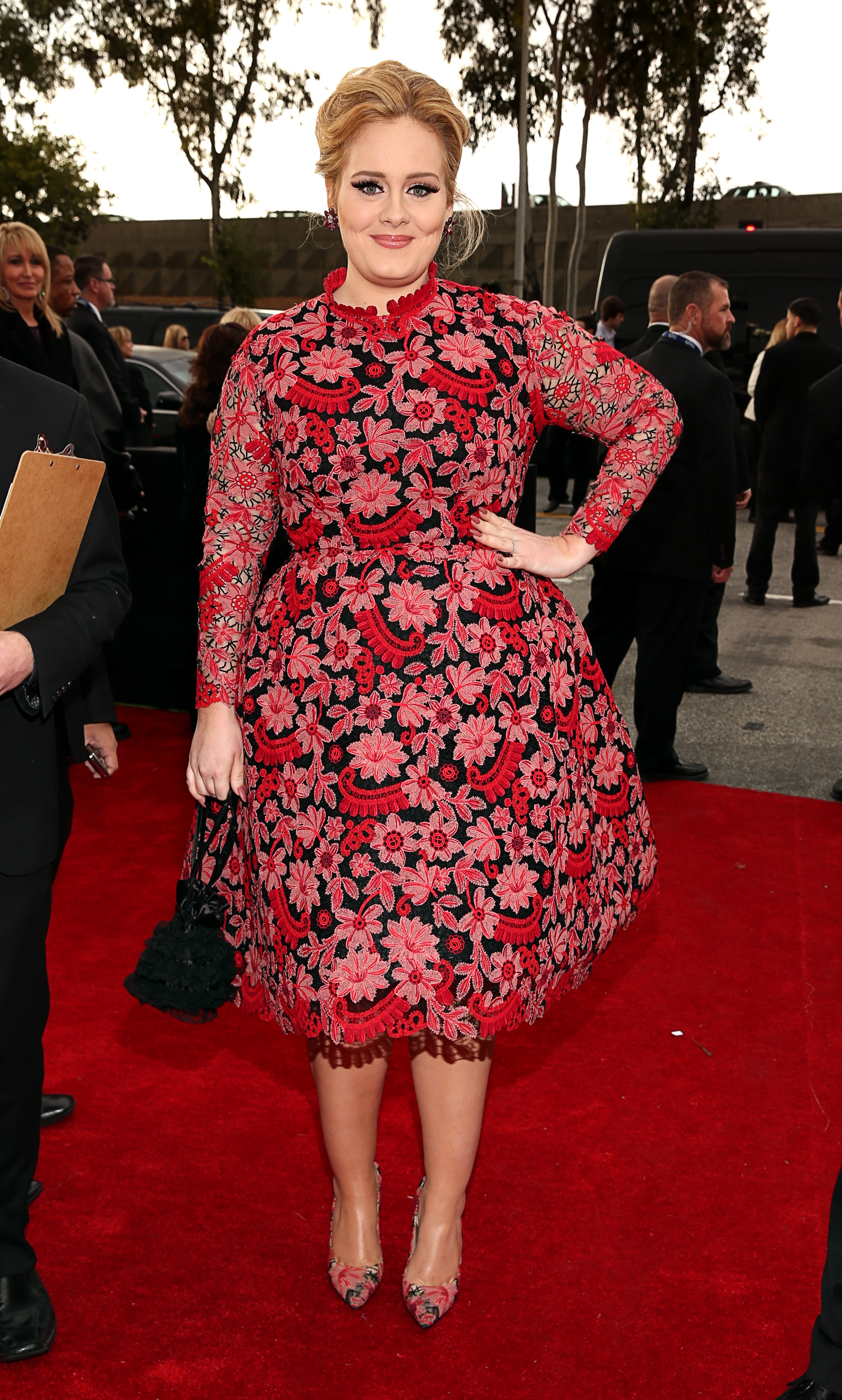 Adele wore a floral Valentino Couture gown for the Grammys red carpet.