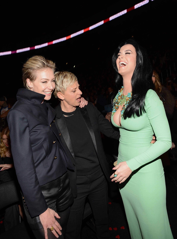 Ellen DeGeneres and Portia de Rossi got a good look at Katy Perry's dress at the 2013 Grammys.