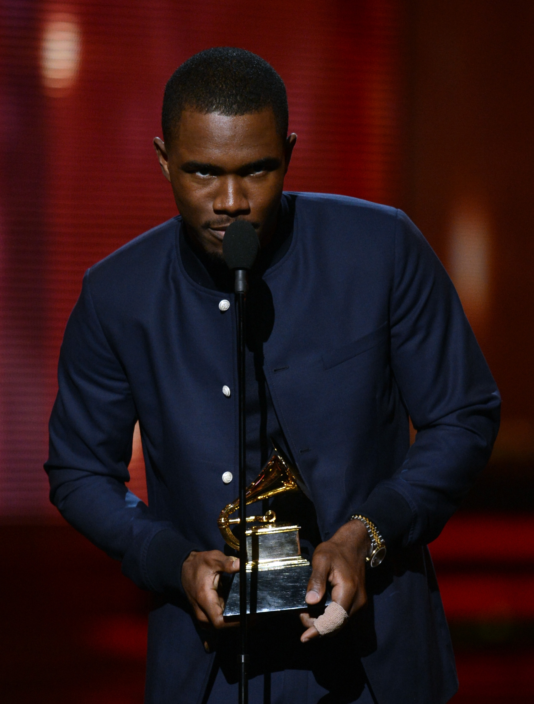 Frank Ocean accepted his Grammy on stage.