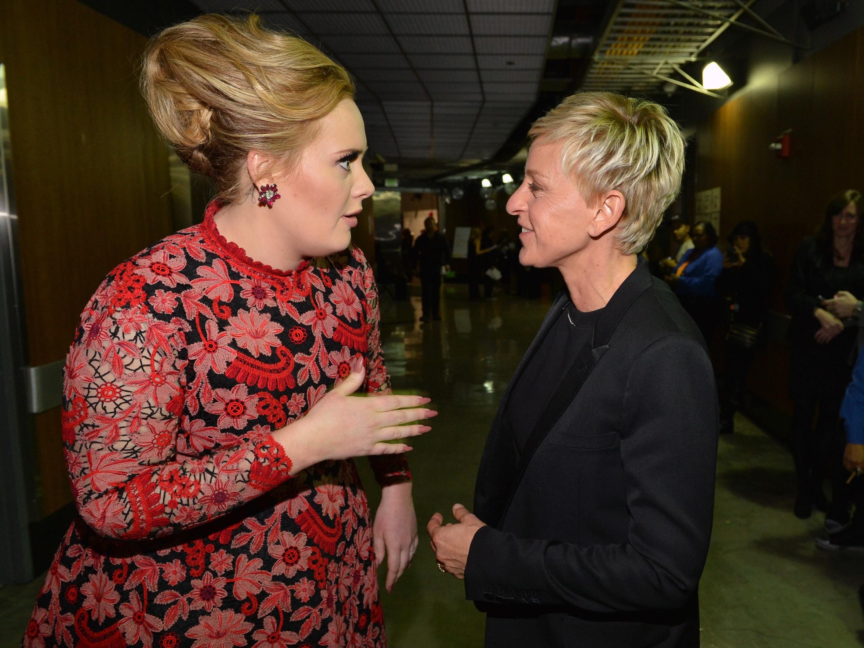 Adele met up with Ellen DeGeneres backstage.