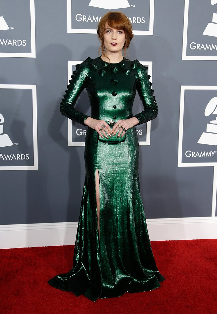 Florence Welch chose a green Givenchy gown for the Grammys.