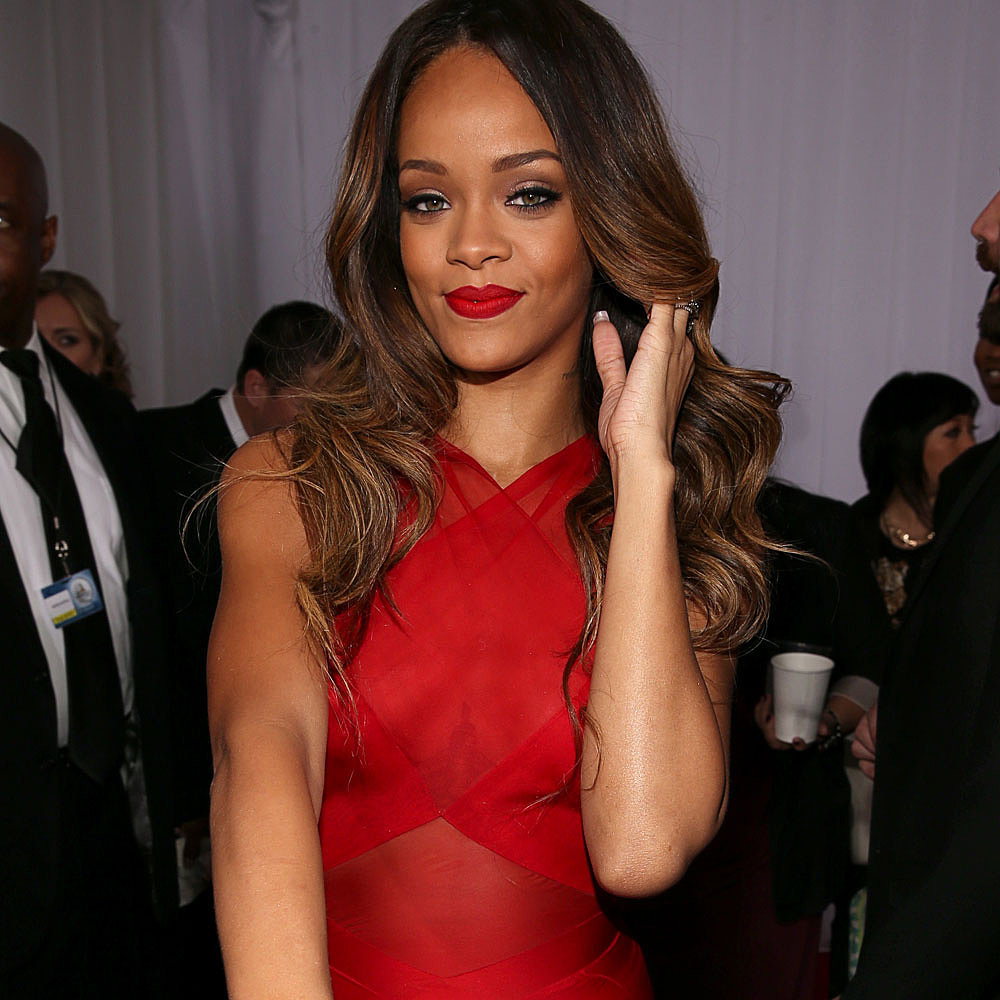 Rihanna Pictures in Red Alaid