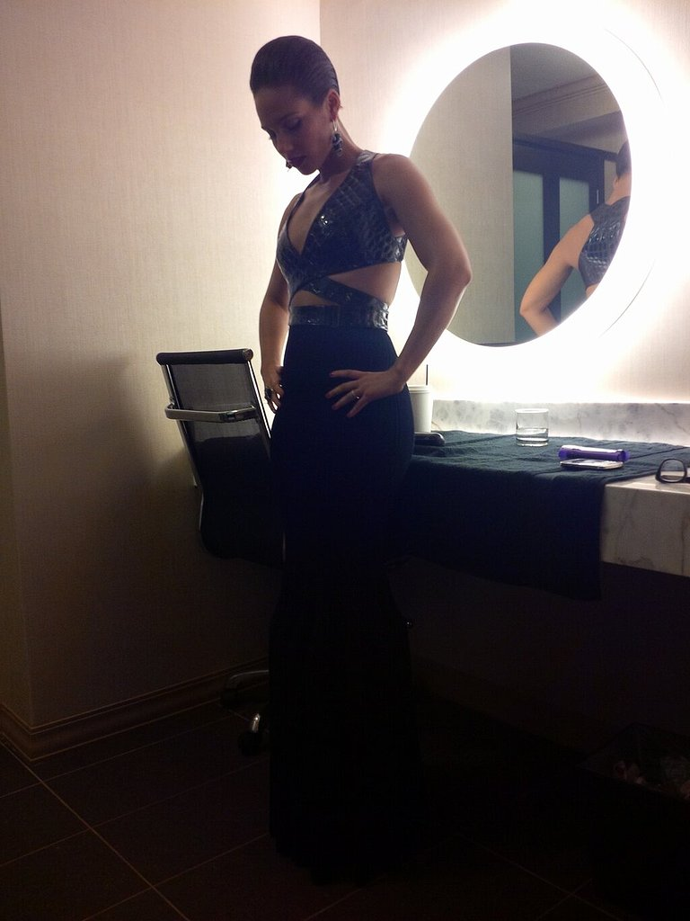 Alicia Keys gave her Twitter followers a first look at her Alaia dress.  Source: Twitter user AliciaKeys