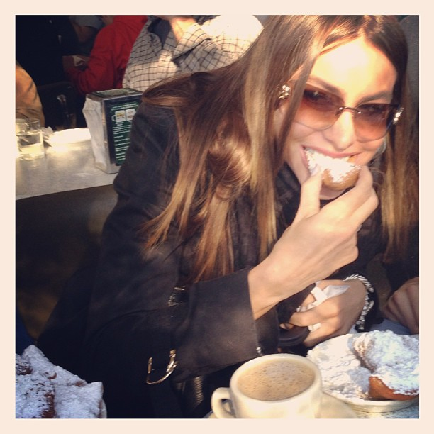 Sofia Vergara enjoyed some NOLA sweets during a pre-Super Bowl meal. Source: Instagram user sofiavergara