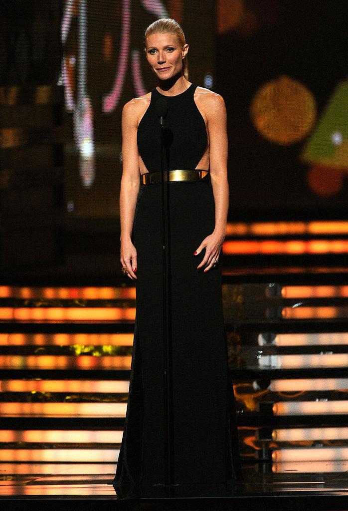 Gwyneth Paltrow presented an award on stage in 2012.