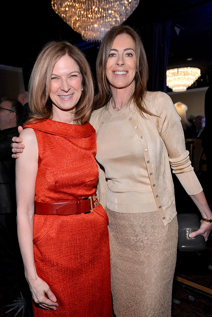 Dawn Hudson and Kathryn Bigelow smiled inside the Oscars luncheon in Beverly Hills.