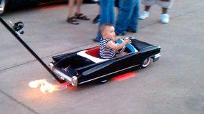 "Incredible ""Cadillac"" Baby Stroller Shoots Flames (VIDEO)"