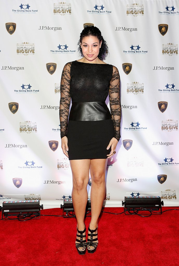 Jordin Sparks chose a LBD with serious mixed-media intrigue at The Giving Back Fund's fourth annual Super Bowl celebration. Just look to the long lace sleeves, sheer detailing, and leather paneling for proof of its cool-girl edge.