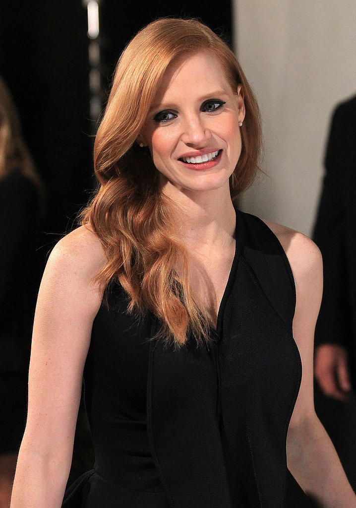 Jessica Chastain donned a black dress.