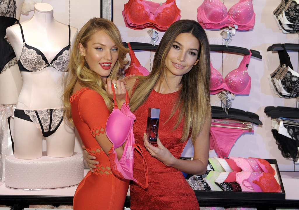 Candice Swanepoel and Lily Aldridge posed together for a Valentine's Day event.