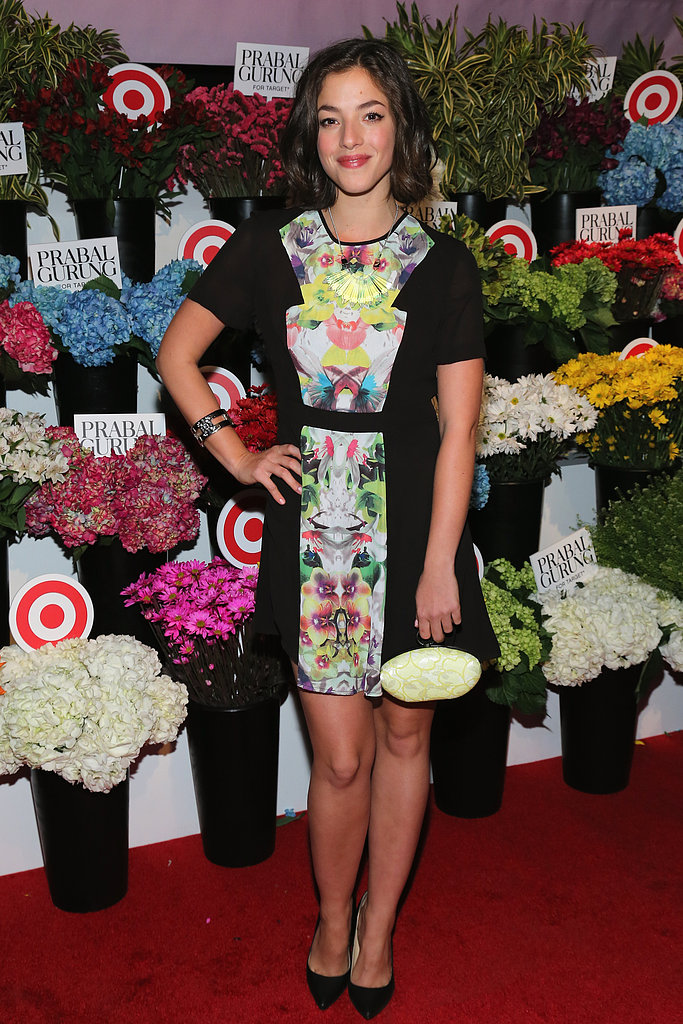 Olivia Thirlby, the face of Prabal Gurung For Target, posed in a bright dress from the designer collaboration at the launch party in NYC.