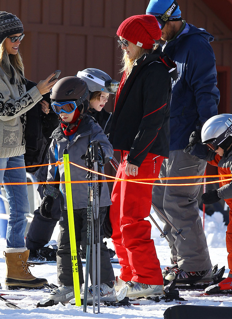 Kate Hudson gave Ryder a lil nudge during an Aspen, CO, ski trip in December 2011.