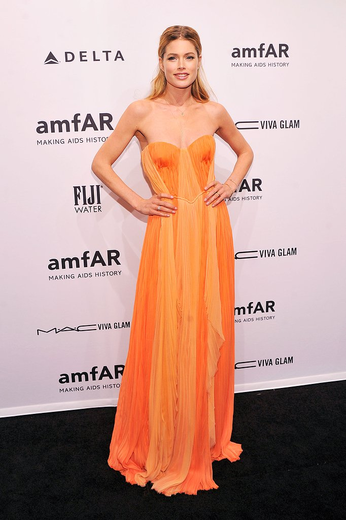 Doutzen Kroes looked beautiful in orange when she attended the amfAR Gala in February.