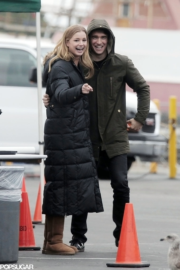 Emily VanCamp laughed on the set of a new PSA with boyfriend Joshua Bowman.