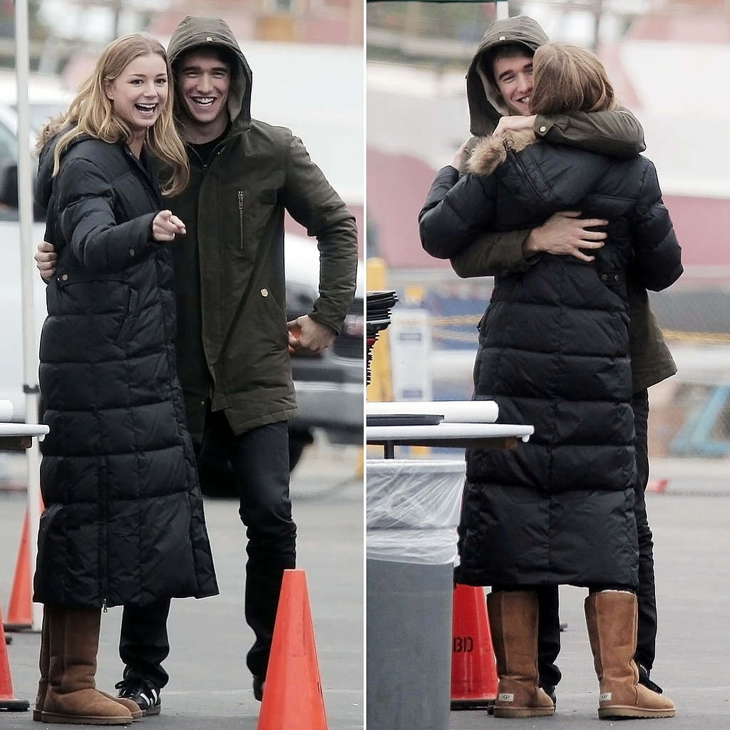 Emily VanCamp and Josh Bowman Hug On Set | Pictures ...