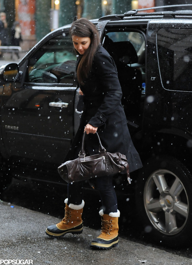 Katie braved the NYC snowstorm Friday afternoon solo.