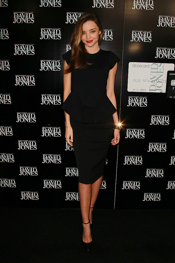 Miranda Kerr kept it classic — and impeccably chic — in a peplum-trimmed LBD by Scanlan & Theodore.