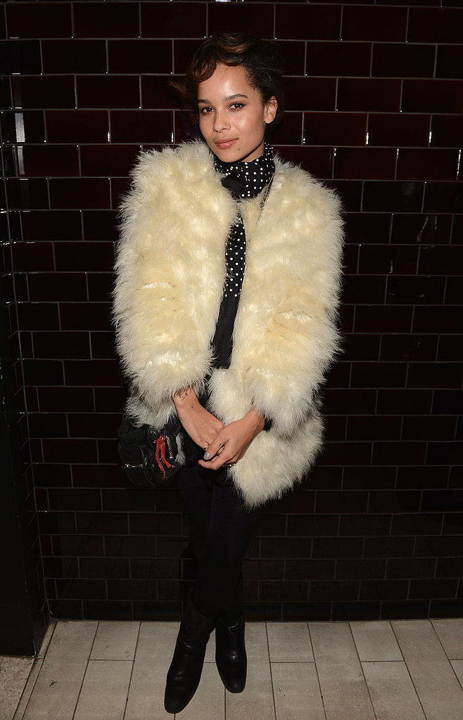 We love the polka-dot blouse and plush fur coat Zoe Kravitz donned at the La Perla afterparty.