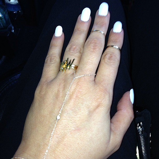 Kim Kardashian jumped on the bandwagon and went for the long and Source: Instagram user kimkardashian  lean nails option.