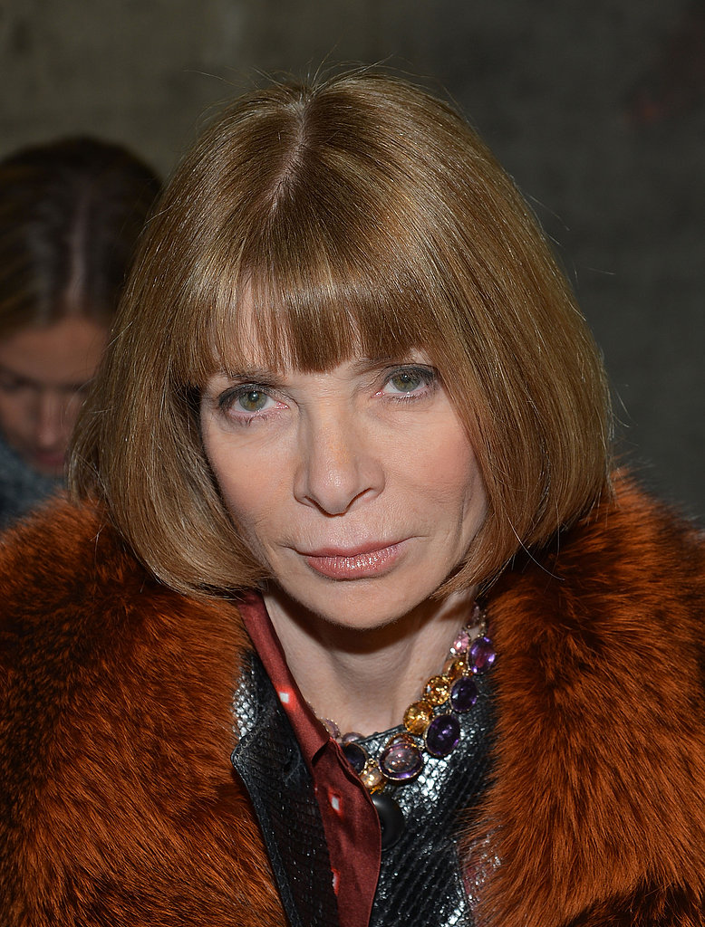 Anna Wintour showed off her extensive fur collection in a pumpkin-hued jacket at Altuzarra.