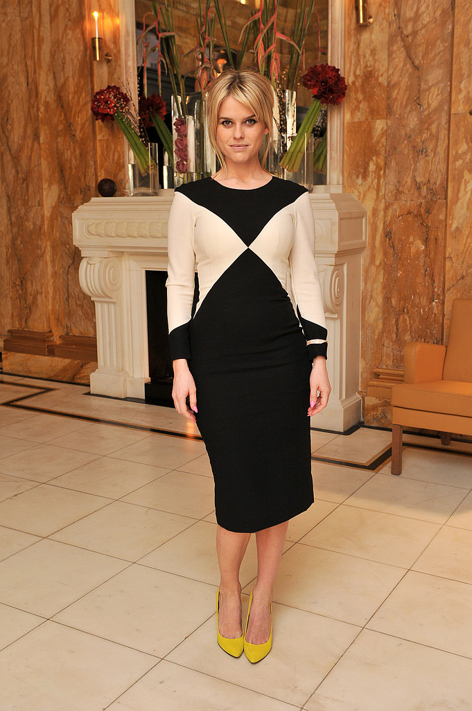 Alice Eve paired her black-and-white sheath with bold yellow pumps at the L'Wren Scott cocktail party.