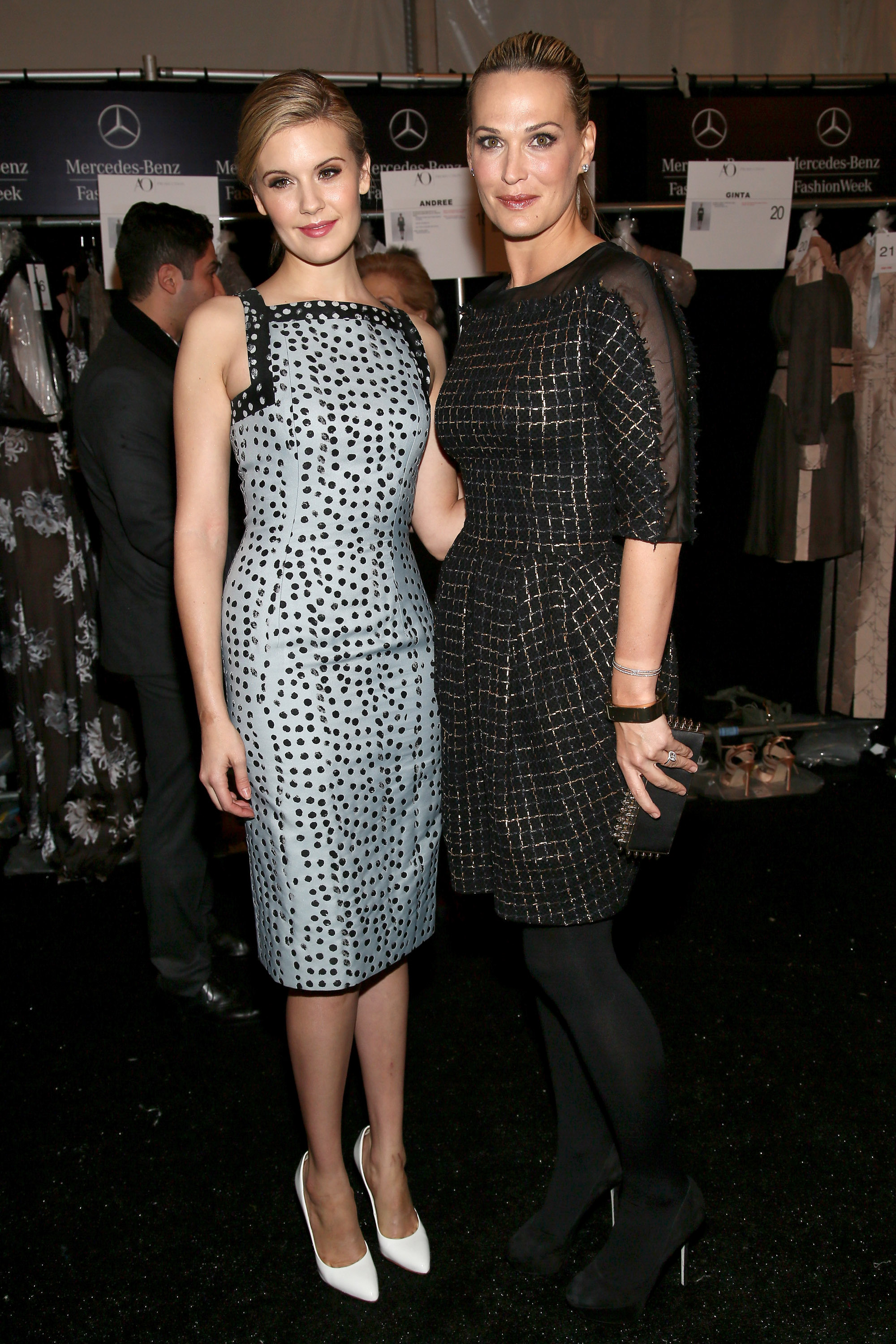 Maggie Grace and Molly Sims checked out Monday's Carolina Herrera show.