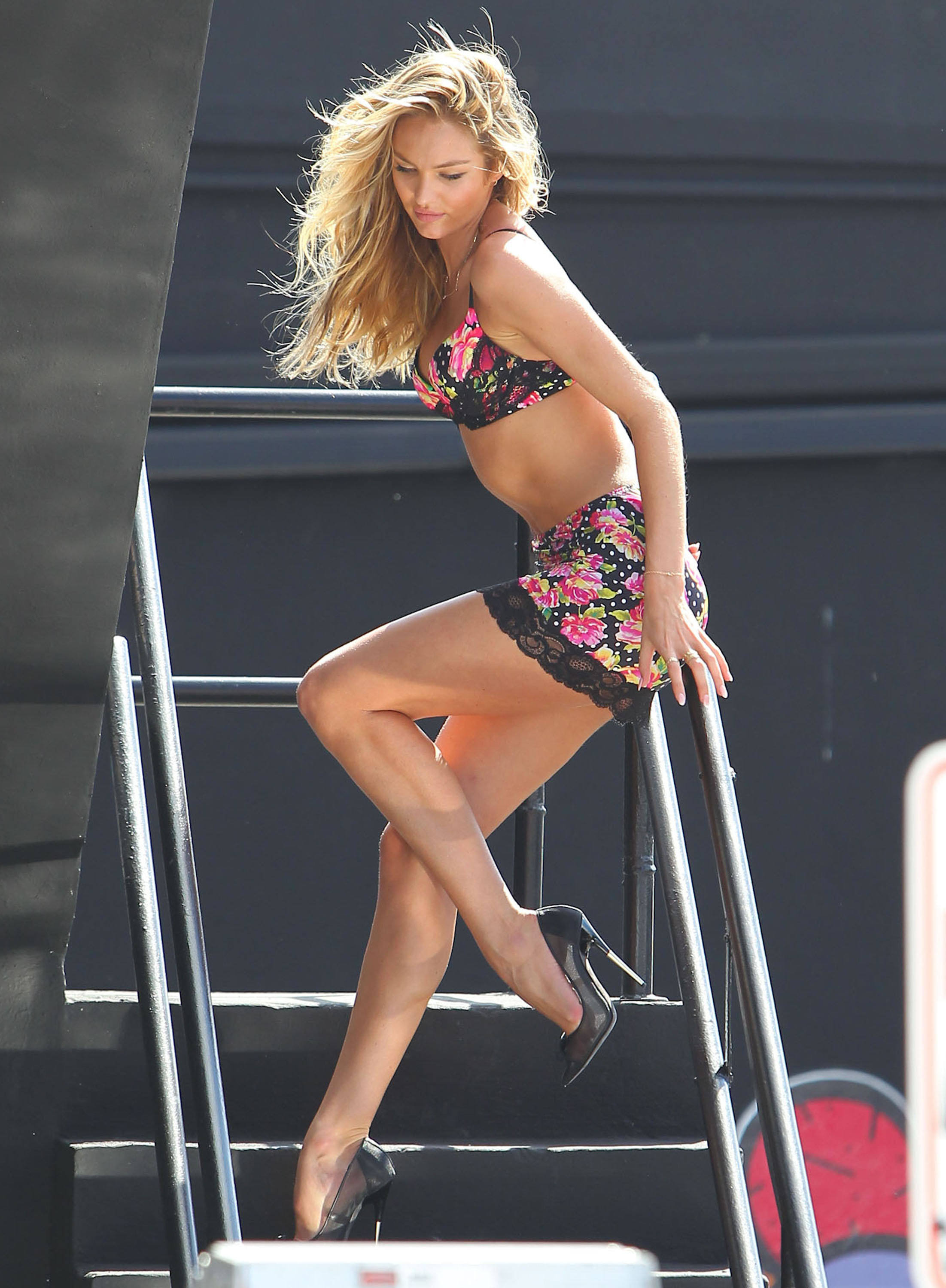 Candice Swanepoel posed on a staircase.