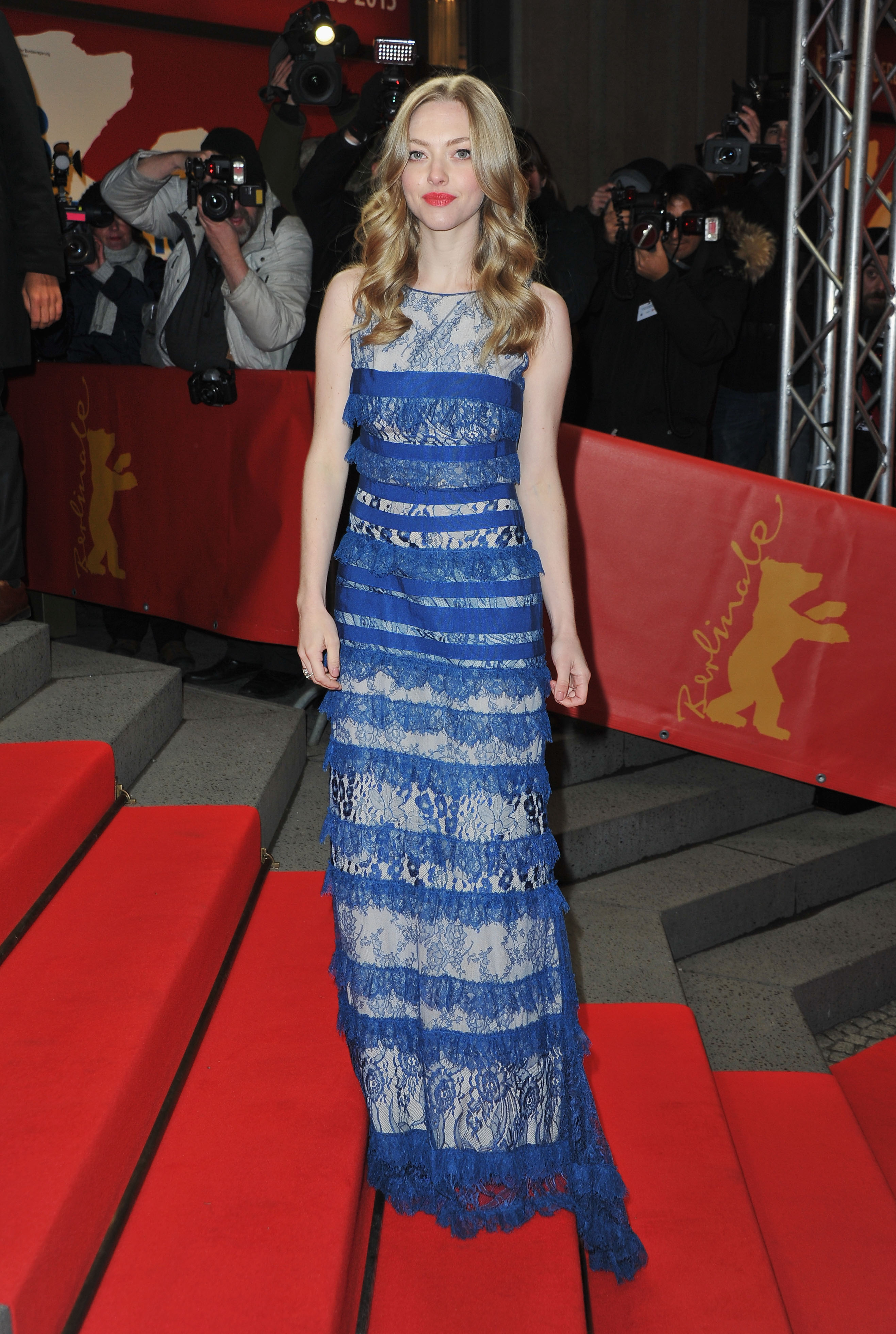 On Saturday, Amanda Seyfried slipped into an Elie Saab gown to hit the red carpet for her Lovelace premiere at the Berlin Film Festival.