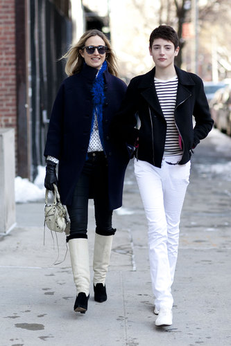 Preppy times two with riding boots and sailor stripes, respectively.