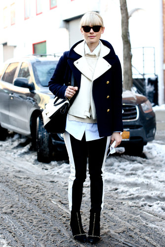 This moto-jacket-meets-pea-coat made for a layered-up kind of cool.