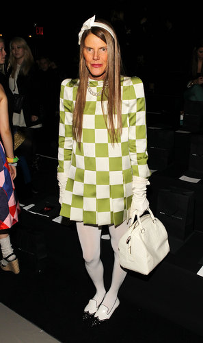 Leave it to Anna Dello Russo to stand way out from the crowd at Marc by Marc Jacobs in a checkered Louis Vuitton dress and stark white accessories.