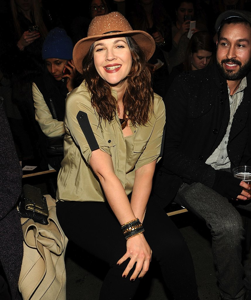 Drew Barrymore sat front row at Rag & Bone's Fall 2013 show at New York Fashion week sporting this CC Skye Madison cuff ($220) with a silky olive blouse and brown hat.