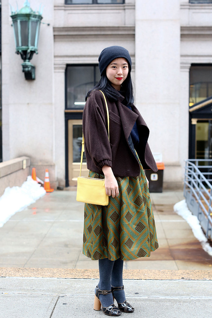 We love the look of this gorgeous full skirt contrasted with a cool-girl beanie and jacket.