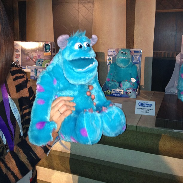 The Scare-Off Sulley challenges kids to scream loud enough to scare the Monsters University star so he falls backward in fear.