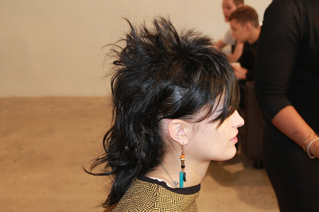 The hair was an undercut/fauxhawk hybrid that grabbed inspiration from the punk and goth elements of Jeremy's collection.