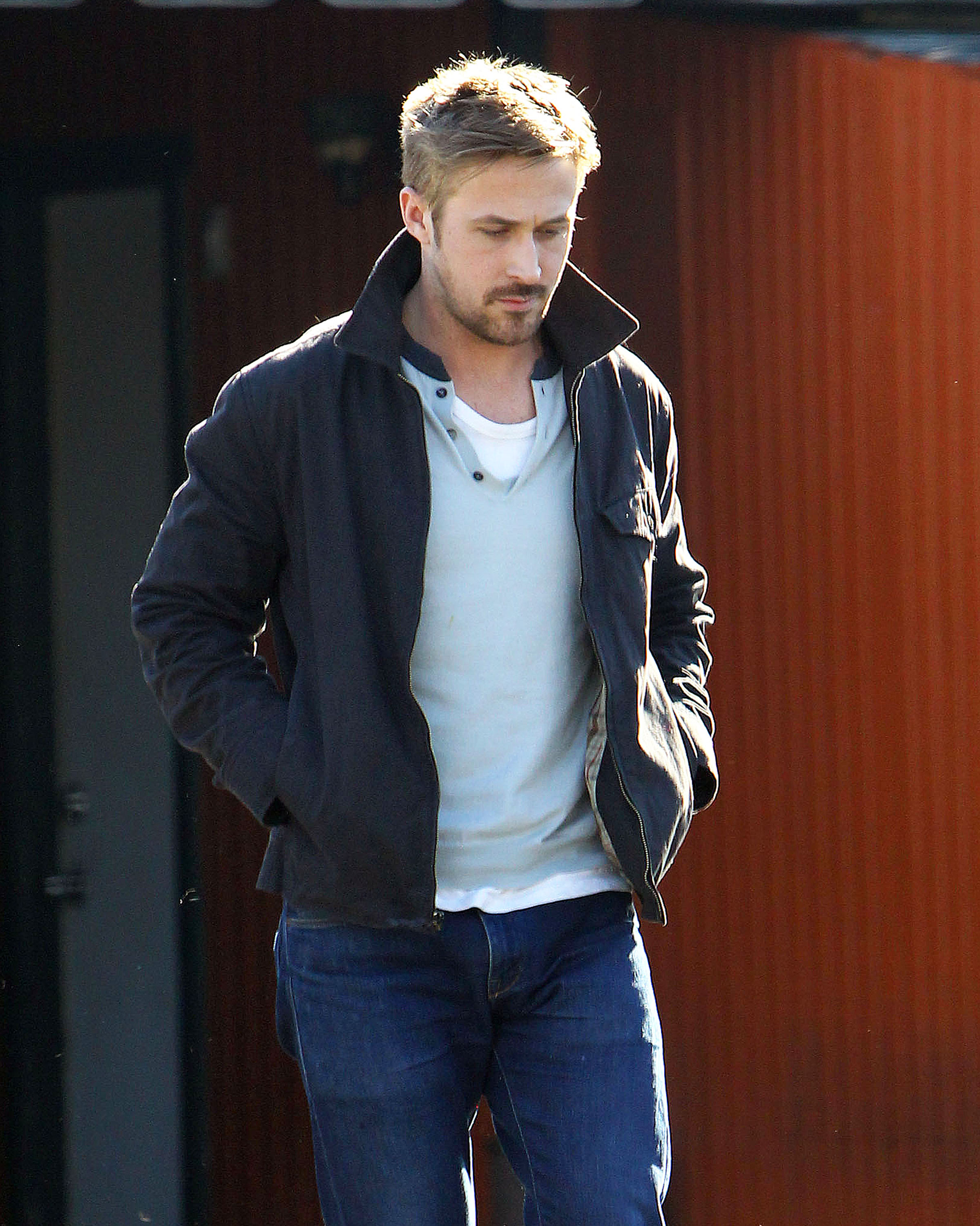 Ryan Gosling looked serious as he made his way through a parking lot after lunch in LA.