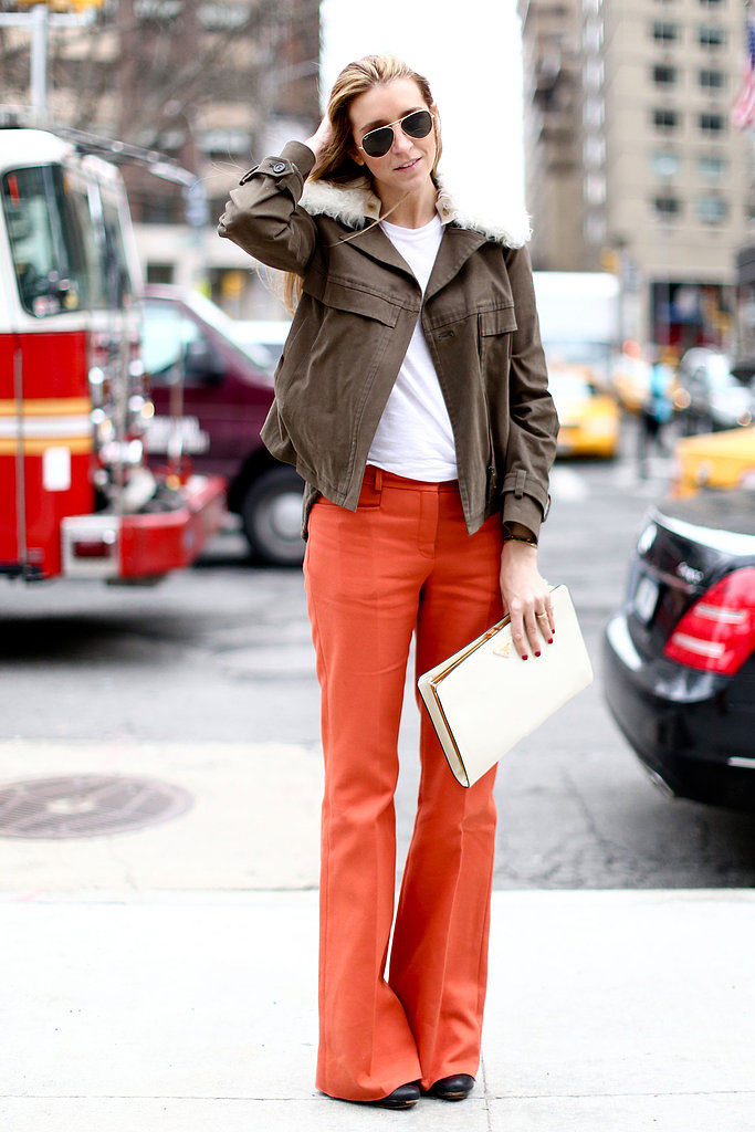 We love the pared-down feel of easy-fit flares and a great jacket.