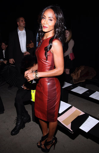 Jada Pinkett Smith styled a rust-hued leather Narciso Rodriguez sheath with cut-out sandals at the Narciso Rodriguez show.