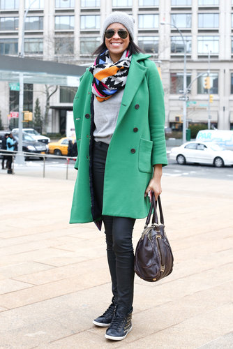 A bright coat looked even brighter with a playful snood.