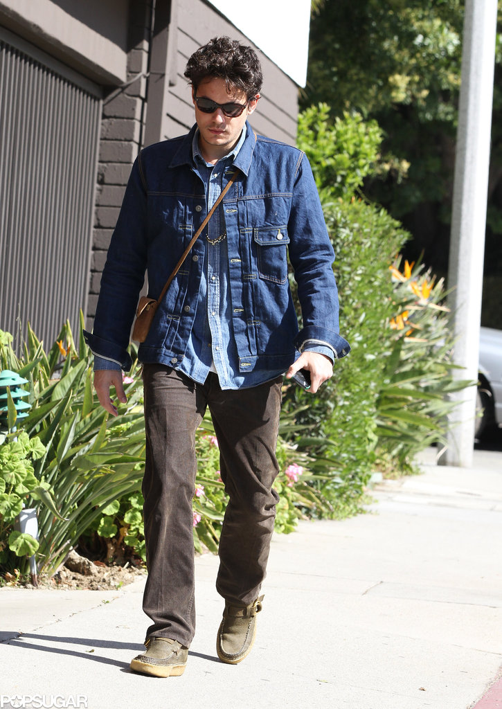 John Mayer wore a denim jacket in Beverly Hills.